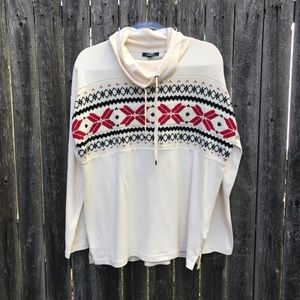 Chaps   Nordic Cowl Neck Pullover Top
